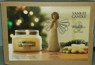 """Yankee Candle """"Christmas Cookie""""9.5 oz and Willow Tree Angel """"Celebrate"""" Set NIB"""