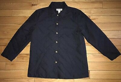 ORVIS Womens Quilted Microfiber Button Down Insulated Coat Jacket Black Sz L EUC