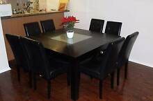 8 Seater Solid Wood Dining table - Leather chairs Melbourne CBD Melbourne City Preview