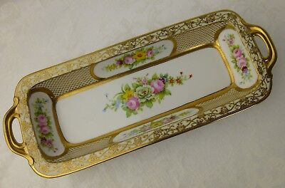Noritake Nippon cracker tray gold with flowers 1930s