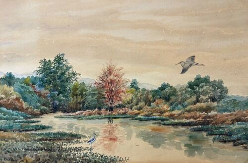 Original Watercolor Painting by Rex Brasher, Signed, Nature Waterscape w/ Heron