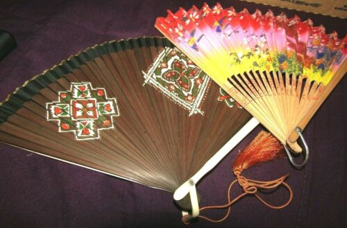 2 VINTAGE ASIAN HAND FOLDING FANS-SEE PHOTOS !!
