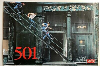 VTG 1986 Levis 501 NYC New York Fire Escape 34 x 22 Poster