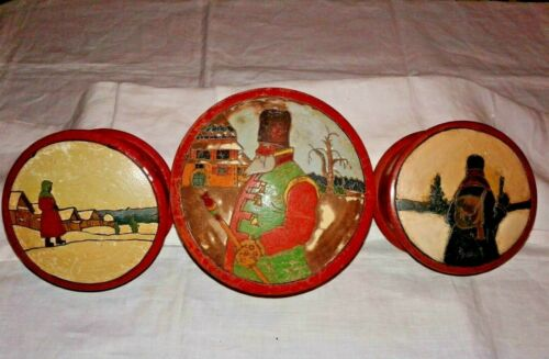 Lot of 3 Vintage Russian/USSR Folk Art Round Boxes