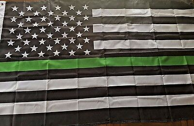 Thin Green Line Flag USA Army Military Law Enforcement Patrol Sheriff Deputy