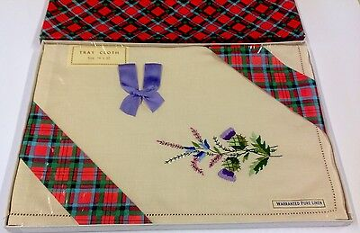 VINTAGE HAND EMBROIDERED Scottish Thistle Linen TABLE CENTRE / TRAY CLOTH 14x20