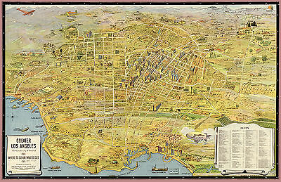 "1932  MAP of Los Angeles CALIFORNIA, Nice size 24""x16"", AMERICA History, Pacific"