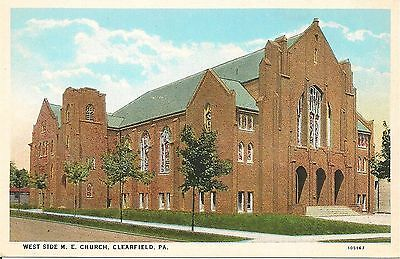 West Side M E  Church Clearfield Pa Postcard