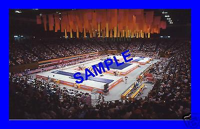 ORIGINAL 1984 PRESS TRANSPARENCY - OLYMPIC GAMES TEAM GYMNASTICS GENERAL VIEW
