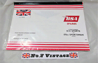 BSA D10 D10A Sports 175cc Spares Reference Parts Book looseleaf Manual