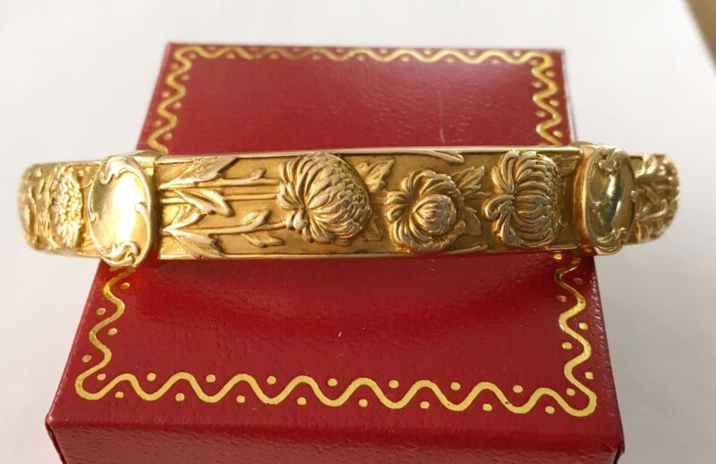 Antique Art Nouveau 14k Riker Bangle Bracelet, Flowers