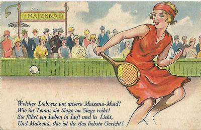 Maizena-Maid beim Tennis, Maizena AG Hamburg, alte Reklame-Ansichtskarte um 1930