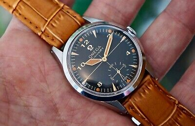 Vintage Omega Seamaster Watch, Black & Orange Crosshair Dial, Cal 266, 1954