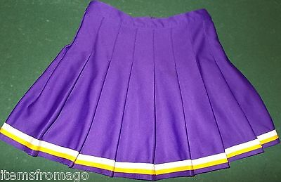 "VARSITY Purple Yellow Gold & White pleated Cheerleader UNIFORM SKIRT 28"""