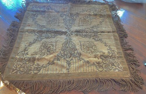 Antique Heavily Metallic Embroidered Linen Table Cover Cloth  WW228