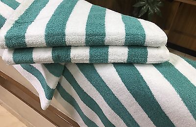 4 Pack New Large Beach, Resort Pool Towels in Cabana Stripe Green 30x70