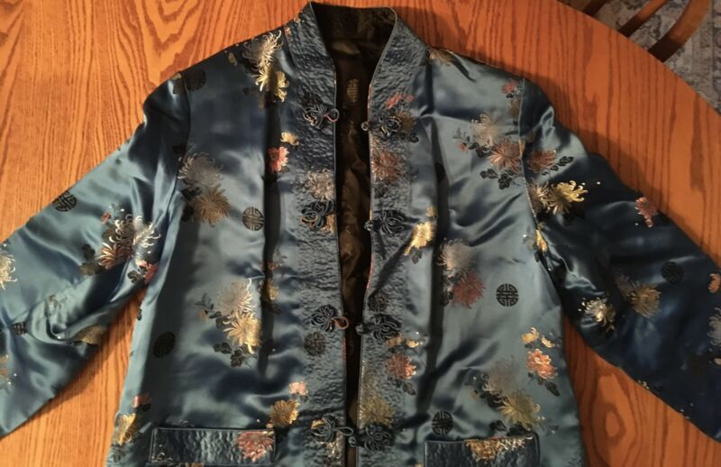 Solz Squirrel Satin Reversible Asian Jacket XXL Blue Floral