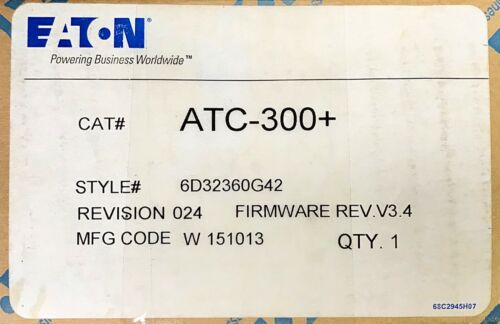 EATON CUTLER HAMMER ATC-300+ Automatic Transfer Switch Controller ATC 300