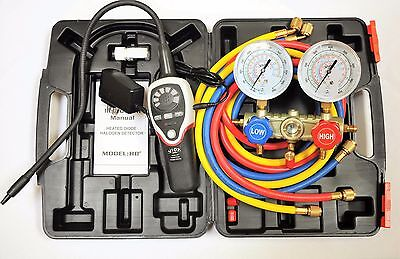 R410amanifold Gaugehoseshalogen Refrigerant Leak Detector Heated Sensor Hvac