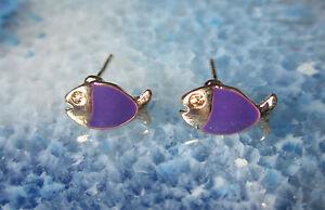 Pendientes-Pendiente-PEZ-piscis-Violeta-Purpura-Esmaltado-banado-en-oro