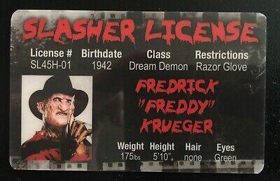 Freddy Krueger Slasher License ID Drivers Horror Movie Nightmare On Elm Street