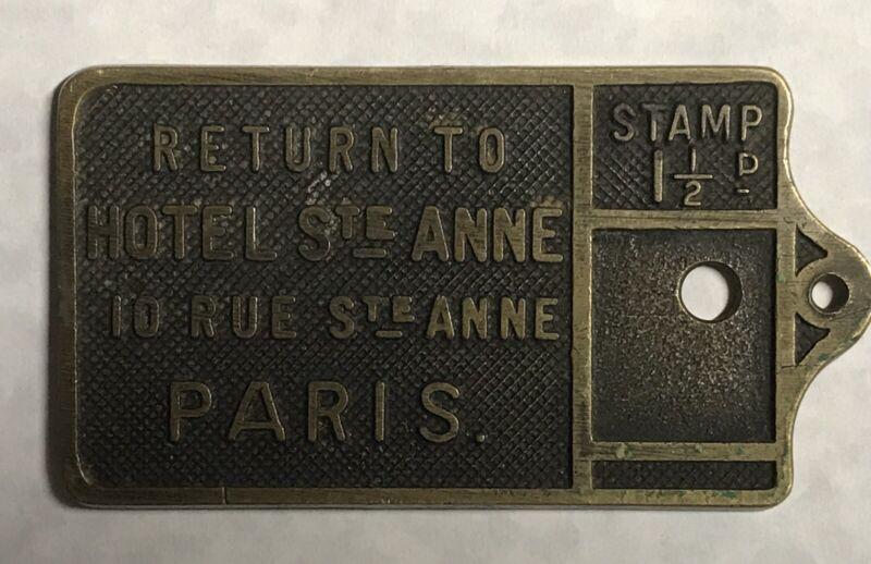Exceptionally Rare Hotel Ste Anne World War 1 Era Paris Brass Key Fob