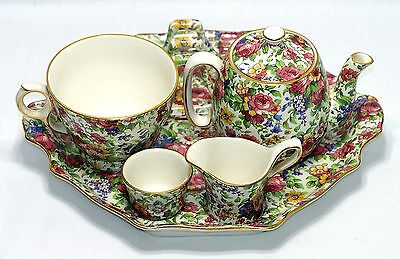 RARE! c.1930s-40s ROYAL WINTON GRIMWADES SUMMERTIME CHINTZ BREAKFAST SET - MINT!