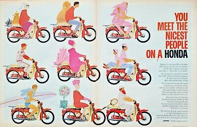 1963 HONDA RED 50cc MOTORCYCLE - You Meet the Nicest People = 2pg Print AD