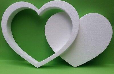 Styropor Herz Rahmen 30 cm Höhe 3 cm weiß Hochzeit Geschenkidee Wand Deko Mosaik