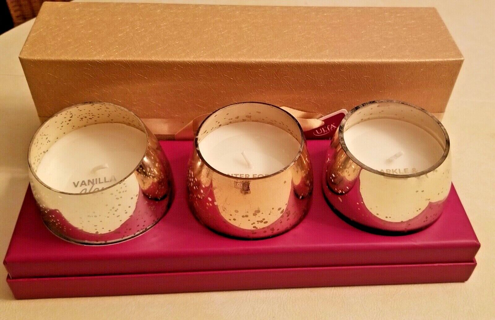 Ulta Beauty 3-Piece Holiday Candle Set Glow, Glam, Spice Stemless Glasses - $10.00