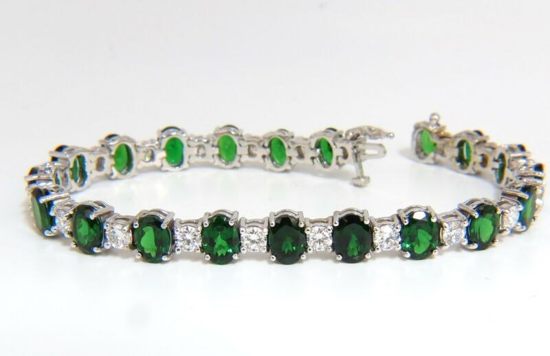 █$25,000 20.68CT NATURAL TSAVORITE DIAMONDS BRACELET 14KT VIVID GREENS TENNIS