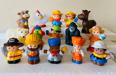 FISHER-PRICE LITTLE PEOPLE LOT Of 15 FIGURES Animals Farm Zoo Fireman Boy Girl