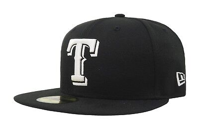 New Era 59Fifty Cap MLB Texas Rangers Apparel Mens Black White Fitted 5950 Hat 59fifty White Hat