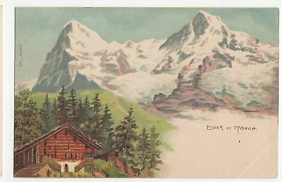 Switzerland, Eiger et Monch Chromo Art Postcard, A591
