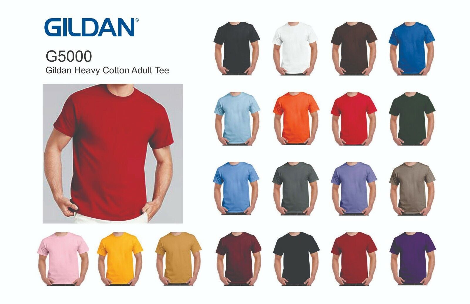 5000 GILDAN Heavy Duty Cotton Tee - Blank Shirts, S-5XL