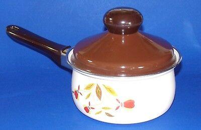 Autumn Leaf  1-1/2  Quart Covered Sauce Pan Pot Jewel Tea Company Porcelain Clad