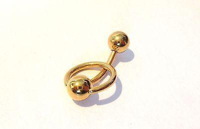 Gold Titanium Dangle Curved Barbell Bar VCH Clit Clitoral Hood Ring 14 gauge 14g