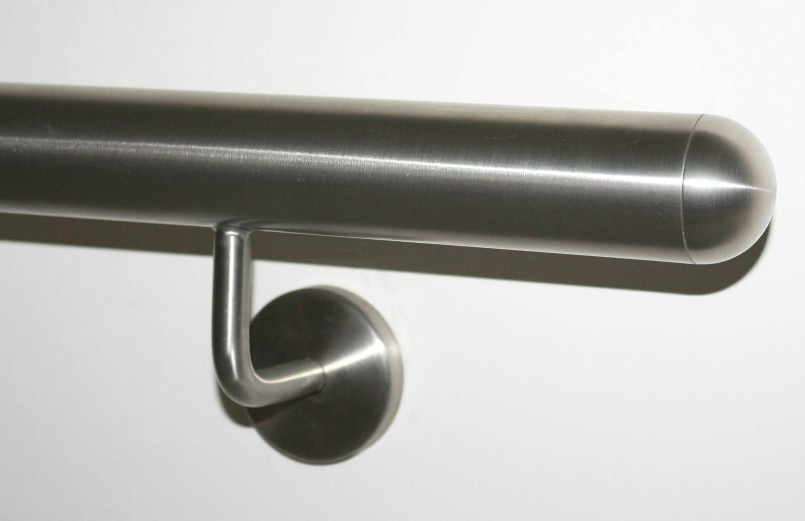 6m aus einem St/ück Variante:30 cm mit 2 Halter Enden mit halbrunde Kappe Handlauf wei/ß pulverbeschichtet V2A Edelstahl Gel/änder innen au/ßen wetterfest best/ändig 0,3m