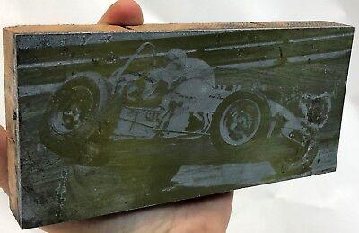 Antique 7 Terre Haute Speedway Stp Midget Car Jump Wood Printing Press Block