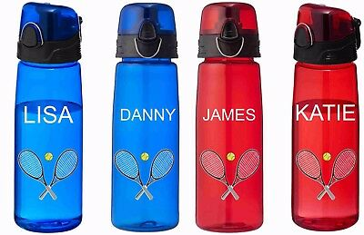 Personalized Plastic Water Bottles (Tennis Water Bottles, Personalised Plastic water Bottle - red and blue)