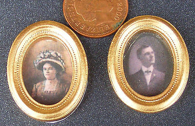1:12 Scale 2 Victorian Framed Portrait Pictures Dolls House Miniature Accessory