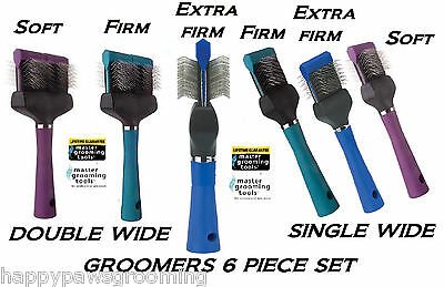 MASTER GROOMING TOOLS 6p GROOMER SET FLEXIBLE SLICKER BRUSH PET Hair Mat Remover