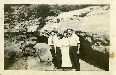 Vintage Image 2 couples 1930's outdoors rock formation men-straw hats women drss