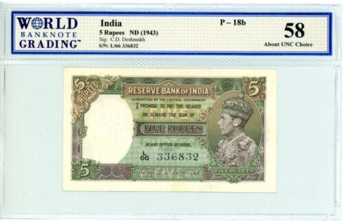 India ... P-18b ... 5 Rupees ... ND(1943) ... *Ch AU-UNC*