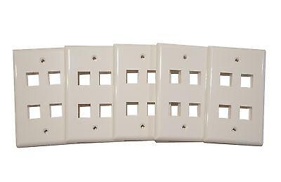 - (5) Pack of 4 Keystone Port Single Gang Data Wall Plates White