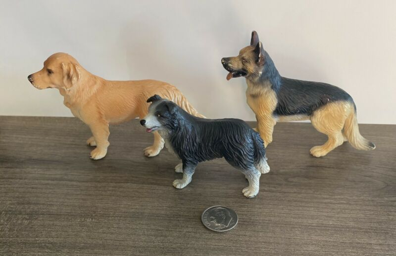 3 Schleich Dogs German Shepard Golden Retriever Border Collie