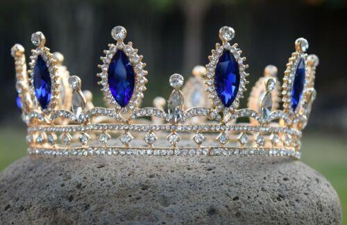 Metal Audrey Crown Tiara Descendants 3 Gift Cosplay Costume Realistic Blue Gold