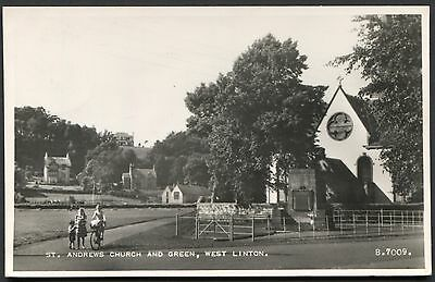 PEEBLESSHIRE - WEST LINTON, ST. ANDREWS CHURCH AND GREEN - RPPC VALENTINE B7009