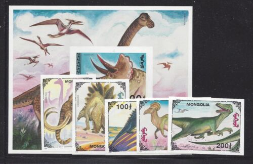 Mongolia 2182-87 Mnh Dinosaurs, Triceratops, Tyrannosaurus *imperf Set + S/s*