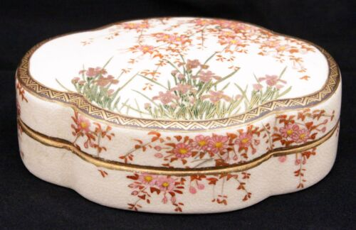 Antique Japanese Meiji Period Satsuma Kogo Box Flowers Asian Earthenware Pottery